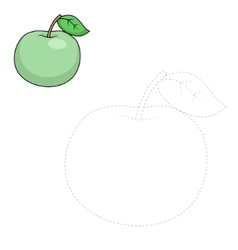 Connect dots to draw apple educational game vector