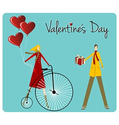 Couple with retro bike Valentines day greeting vector image