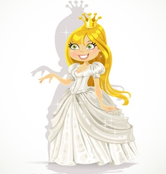 Cute princess in a white dress gives a hand vector