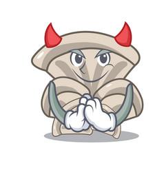 Devil oyster mushroom mascot cartoon vector