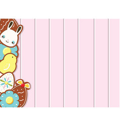 Easter background with cookies on pink wooden desk vector