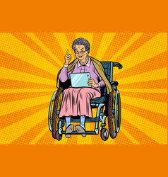Elderly woman disabled person in a wheelchair vector