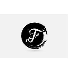 f letter logo alphabet on grunge circle in black vector image