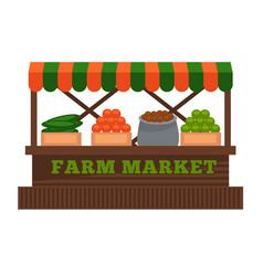 Farm market fruit or vegetable vendor booth stall vector