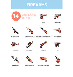 Firearms - modern line design icons set vector