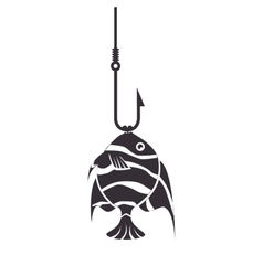 Fish icon fishing hook isolated vector