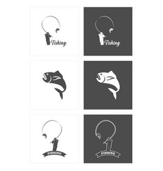 Fishing logo set template design vector