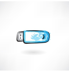 flash drive grunge icon vector image