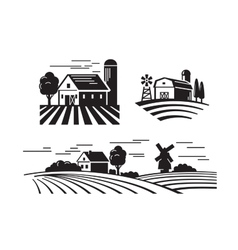 flat farm icons vector image