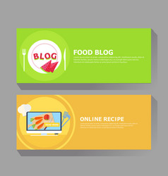 food blog and online recipe banner vector image