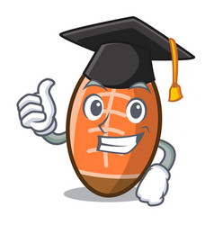 Graduation rugby ball character cartoon vector