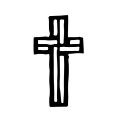 Grungy religion symbol Black and white cross vector