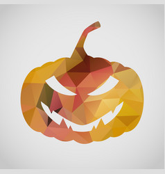 Halloween card with sly pumpkin of triangle vector