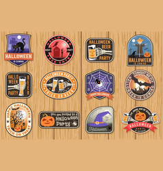 halloween patches halloween retro badge pin vector image