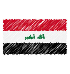 Hand drawn national flag of iraq isolated on a vector