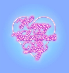 happy valentine s day neon sign vector image