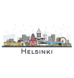 Helsinki finland city skyline with color vector
