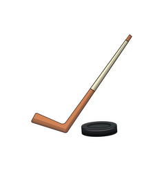 Hockey stick and puck sport vector