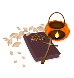 Holy Bible with Wooden Cross and Pumpkin Lantern vector image