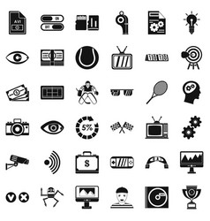 home video icons set simple style vector image vector image