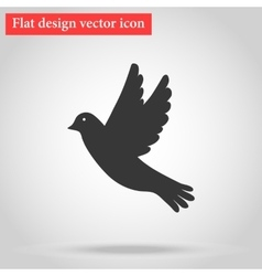 Icon gray bird flying flat design with shadow vector