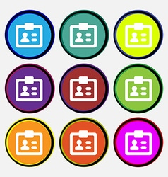 ID Identity card icon sign Nine multi-colored vector