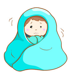 Ill man shivering hard under blanket vector