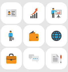 job icons flat style set with agreement vector image