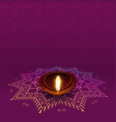 Lovely diwali diya with rangoli design vector