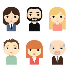 man and woman avatars set with smiling faces vector image