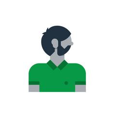 Man side view turned head smart guy programmer vector
