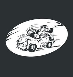 man with a smoking pipe driving a vintage car vector image