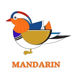Mandarin Duck Geometric Line Icon vector