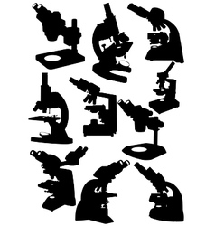 Microscope silhouettes vector