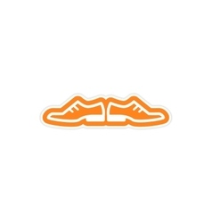 Paper sticker on white background male shoes vector