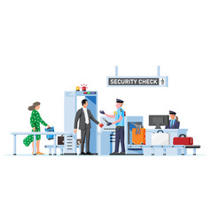 Passengers passes security check vector