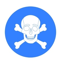Pirate skull and crossbones icon in black style vector