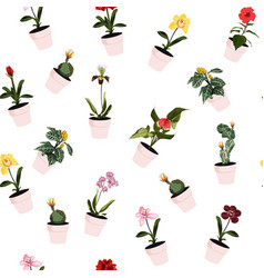 plants in pots seamless pattern vector image