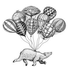 polar bear flies on air balloons vintage retro vector image