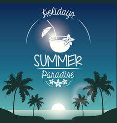 Poster sunset landscape of palm trees on the beach vector