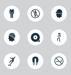 Protection icons set with hat strong magnetic vector