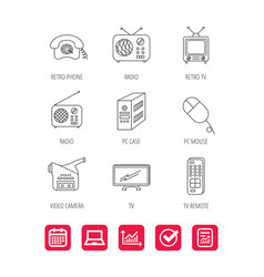 Radio tv remote and video camera icons vector