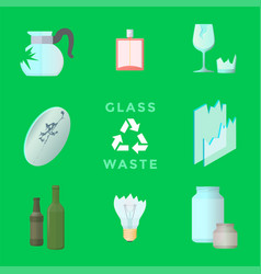 Recycle glass waste management set vector