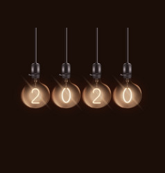 Round electric lamps with number 2020 inside vector