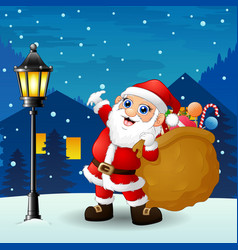 santa claus carrying sack full of gifts with snowf vector image