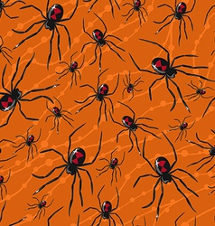 Seamless Halloween pattern with poisonous spiders vector