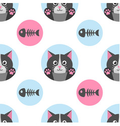 seamless pattern with cat and fish bone vector image