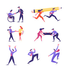 set business people hiring disabled man at work vector image