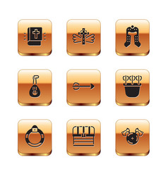 Set holy bible book magic stone ring chest vector