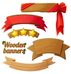 set of light wooden banners 2 vector image